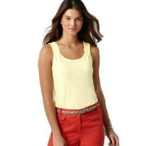 NWT LOFT Vanilla Scoop Neck Shirred Strap Tank M